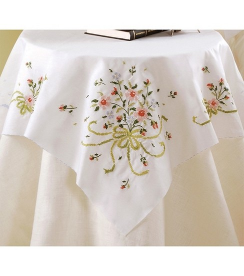 Bucilla Table Topper Stamped Cross Stitch Bridal Bouquet