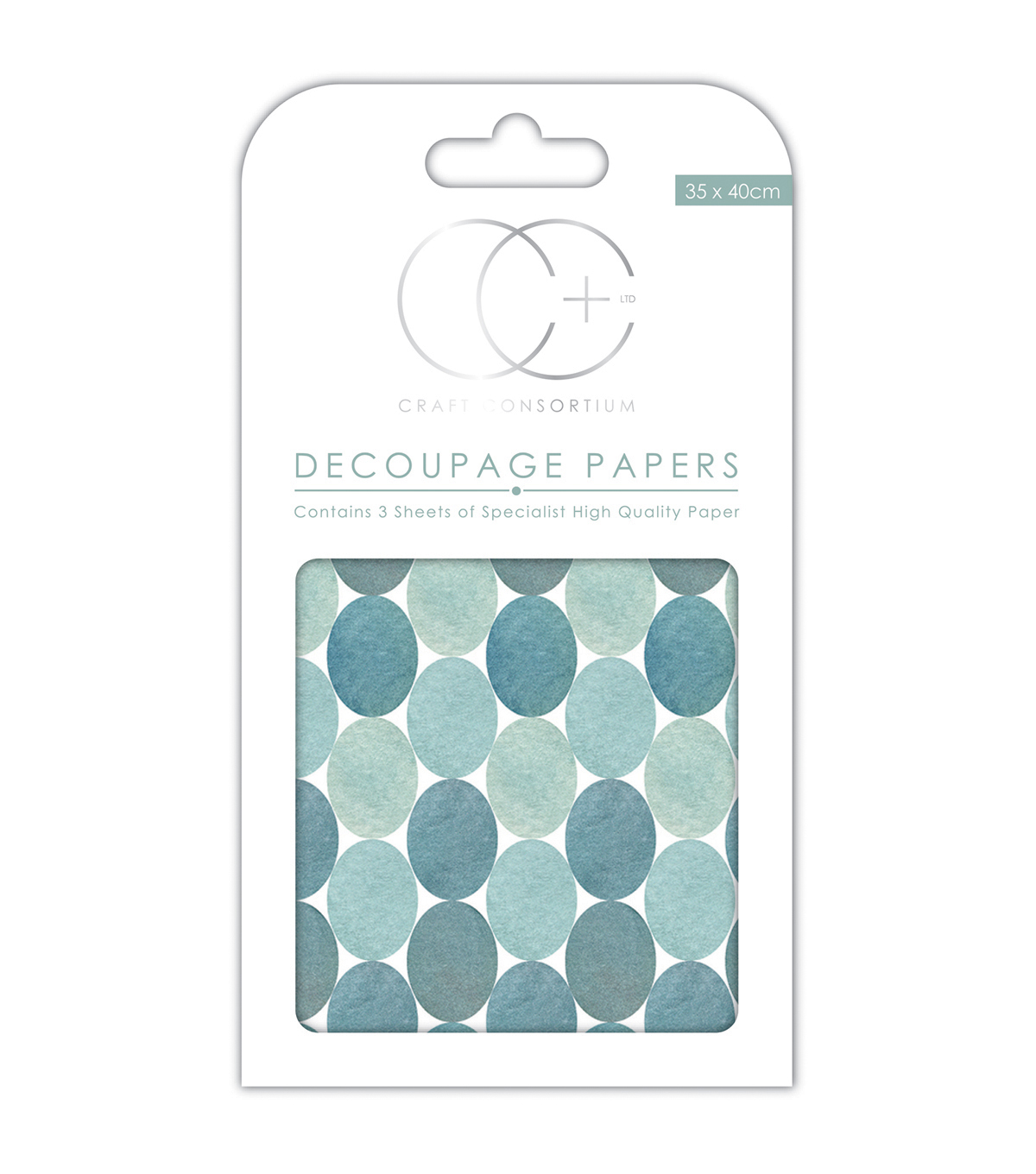Craft Consortium 3pcs 13.75\u0027\u0027x15.75\u0027\u0027 Decoupage Papers-Blue Dots
