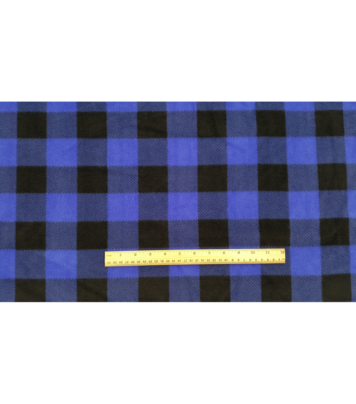 Anti-Pill Fleece Fabric -Blue Black Buffalo Check