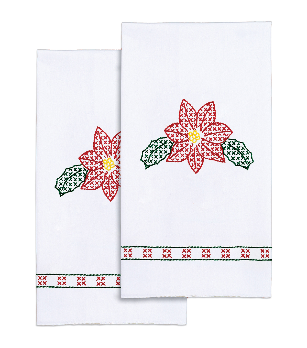 Jack Dempsey Stamped Decorative Hand Towel Poinsettia White
