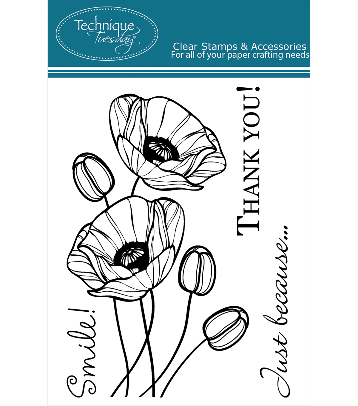 Technique Tuesday Clear Stamps 3\u0022X4\u0022-Budding Poppies