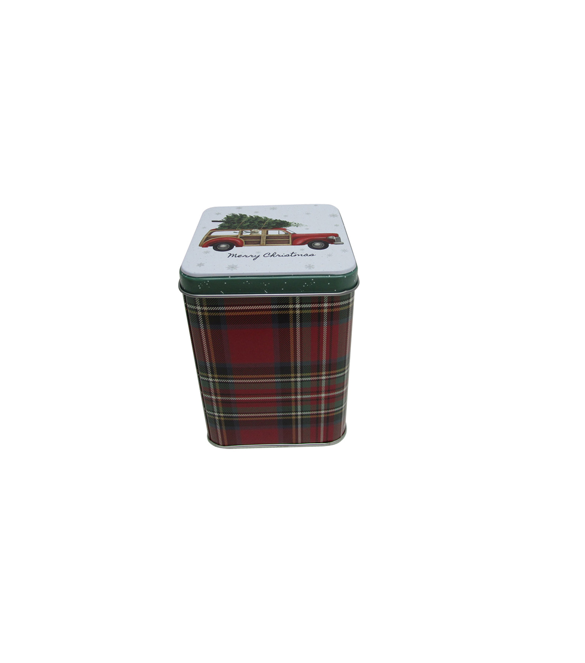 Handmade Holiday Christmas Medium Square Cookie Canister-Truck