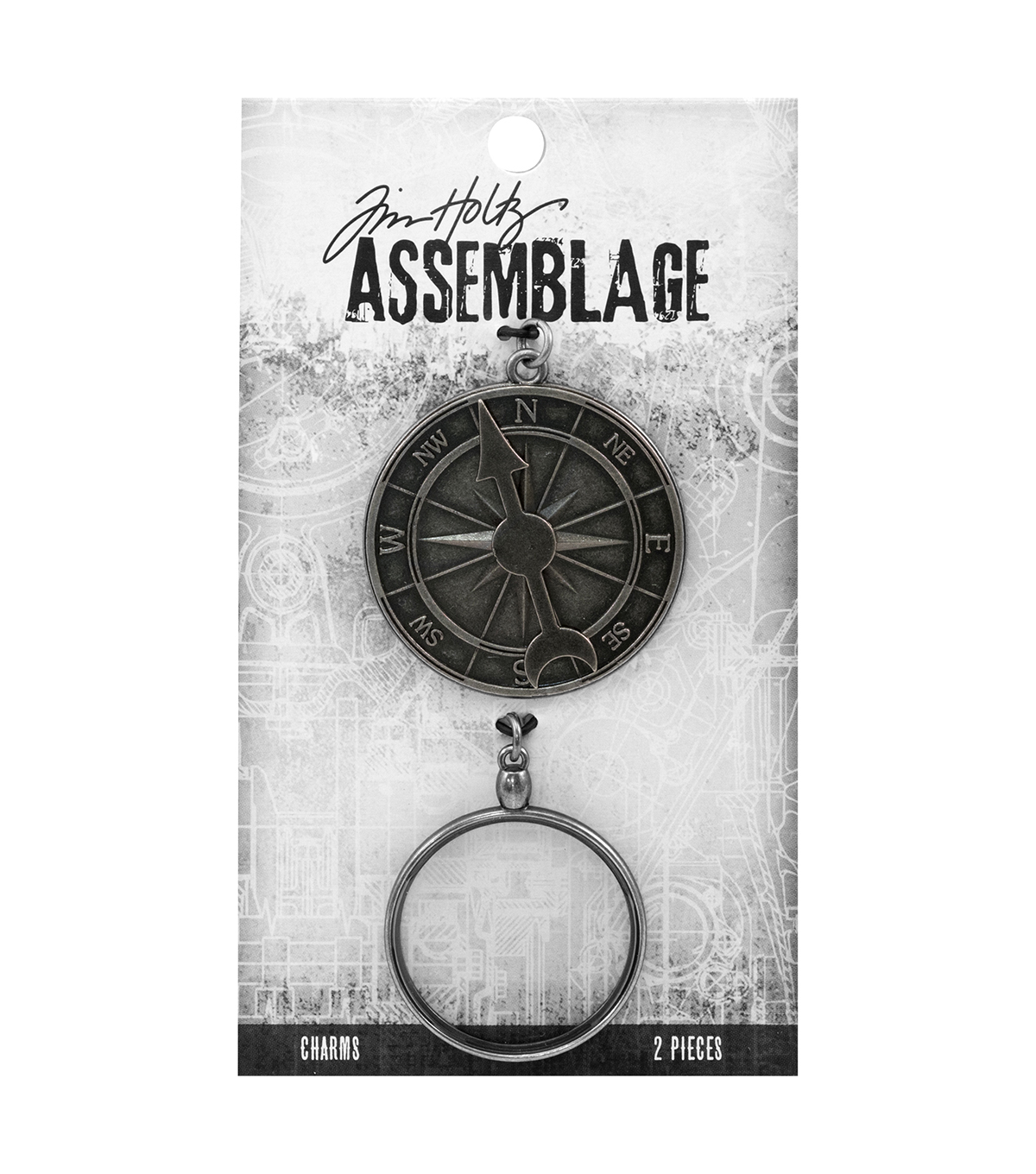Tim Holtz Assemblage Pack of 2 Compass & Monocle Charms