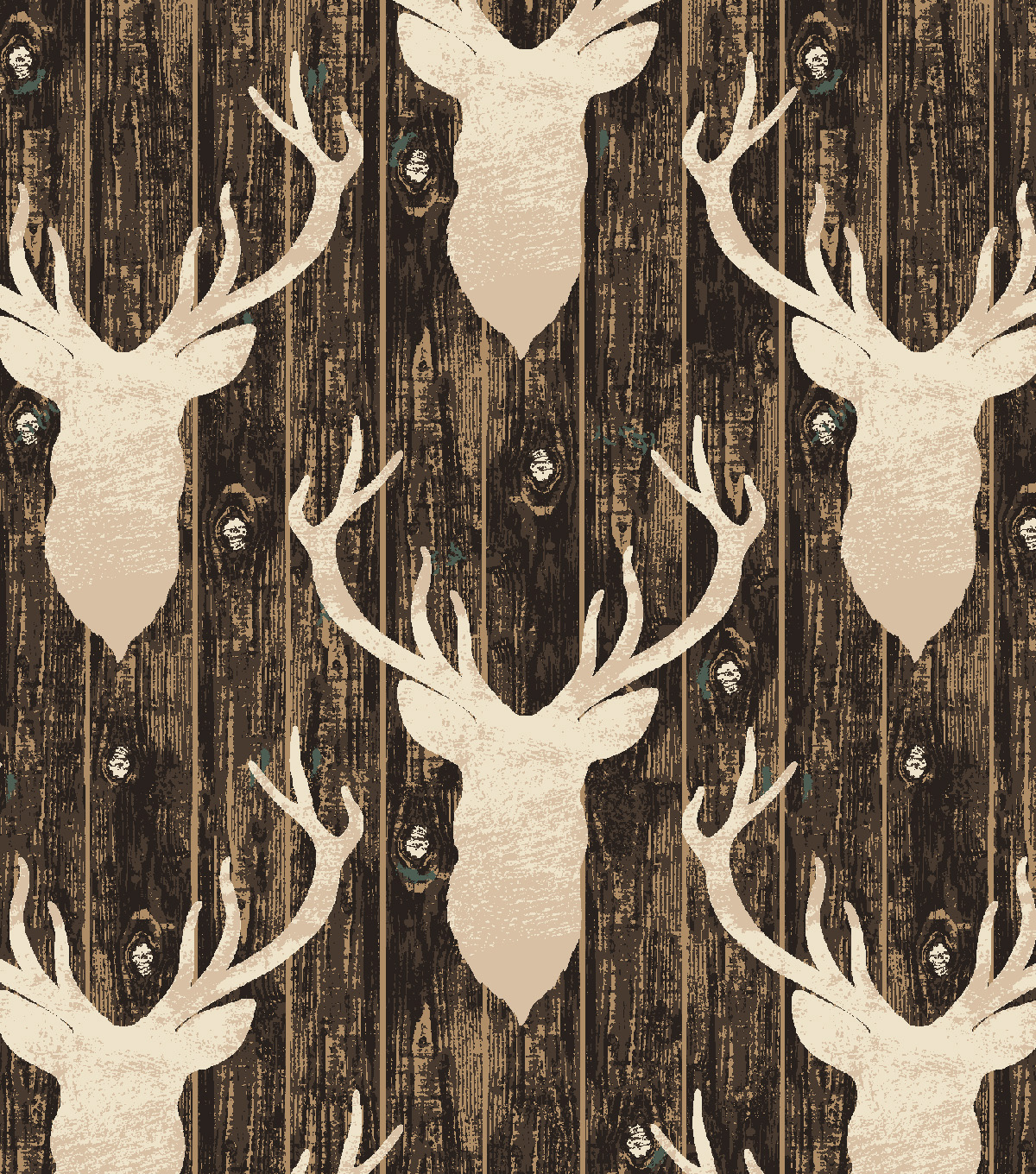 Snuggle Flannel Fabric 42\u0027\u0027-Stag Head on Wood Grain