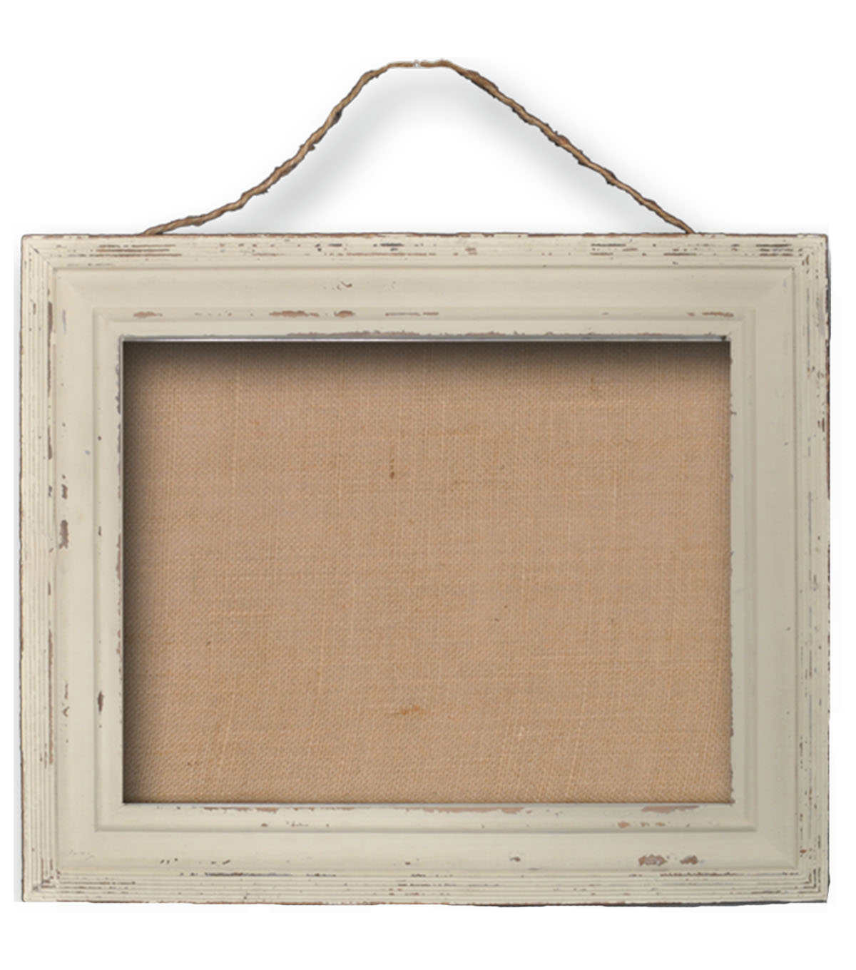 Burlap Bulletin Board with Jute Rope-White Wash