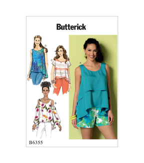 Butterick Pattern B6355 Misses\u0027 Tops-Size 4-6-8-10-12-14