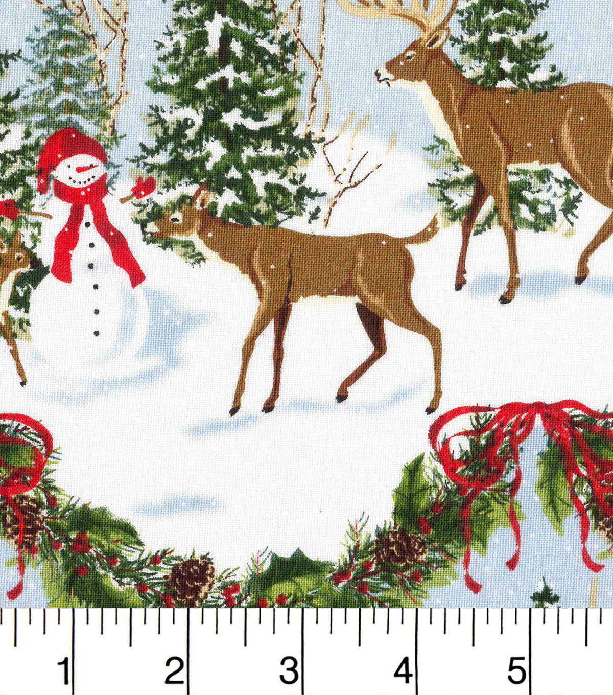 Holiday Cotton Fabric -Deer In Forest Scenic