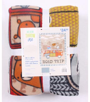 No Sew Fleece Throw 48\u0022-Road Trip