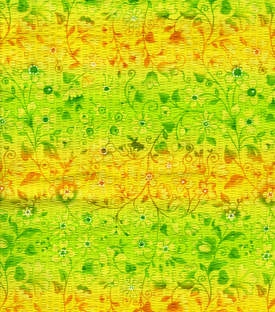 Tutti Fruitti Paper Mache Fabric -Floral Vines on Yellow