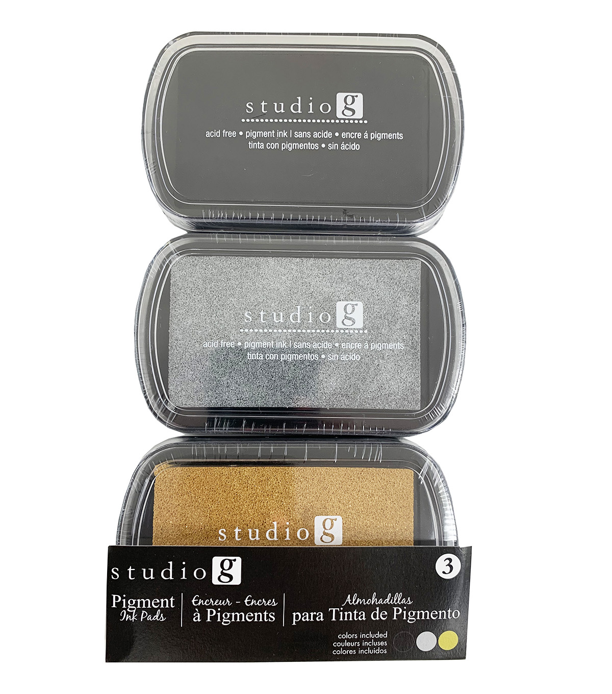 Studio G Washable Ink Stamp Pads-Black,Silver,Gold
