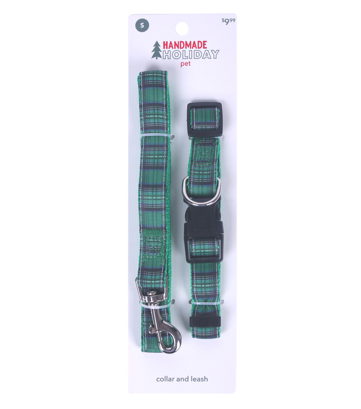 Handmade Holiday Pet Christmas Small Collar & Leash-Green Tartan