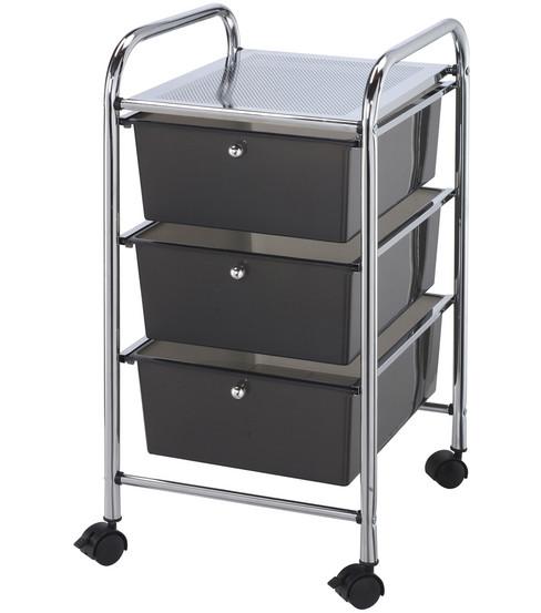 Storage Cart With 3 Drawers Smoke