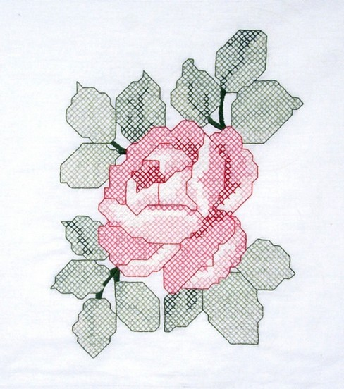 Quilt Blocks Stamped Poly Cotton-Red Rose