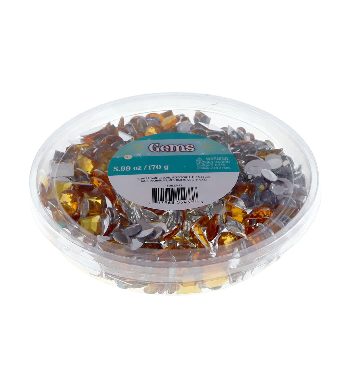 Gem Tub Round Square Gold Crystal