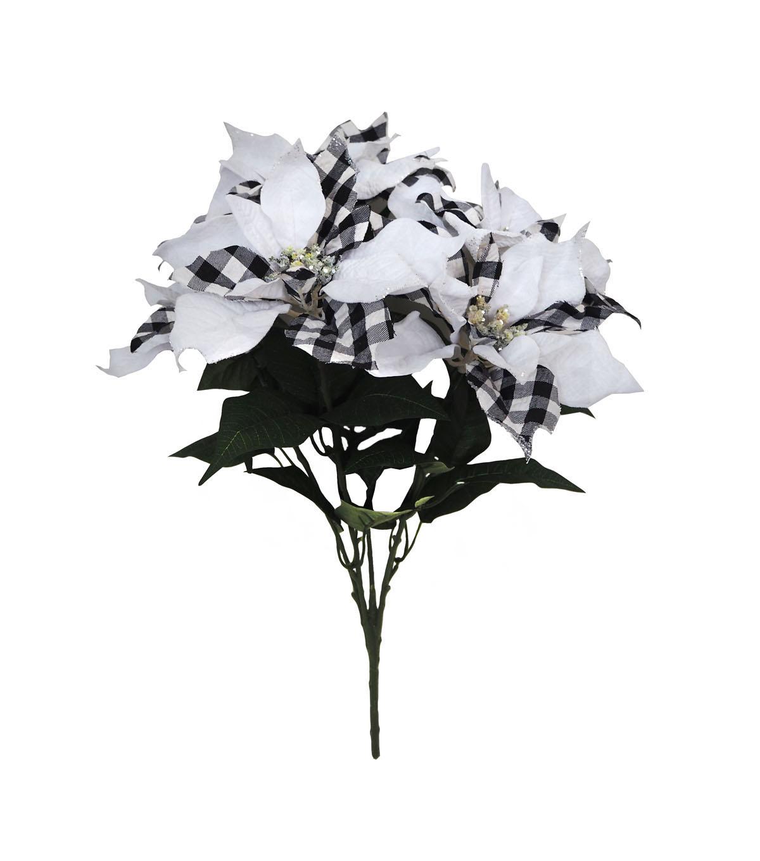 Blooming Holiday 21 Buffalo Check Poinsettia Bush White Black