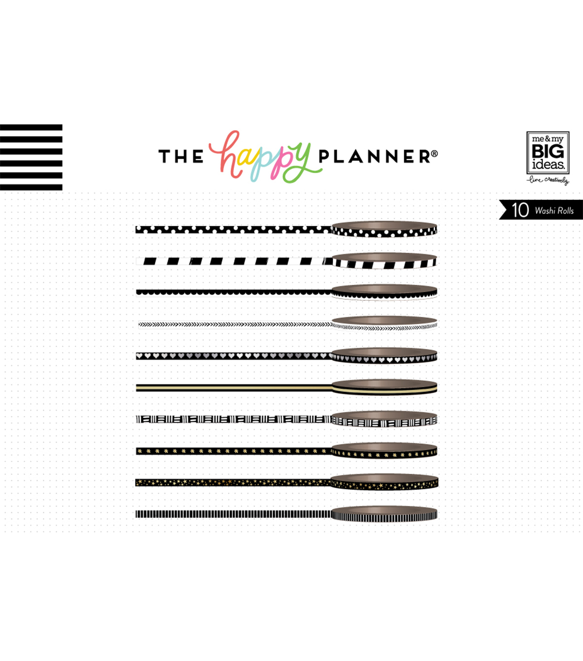 The Happy Planner Mini Washi Tape-Black & White