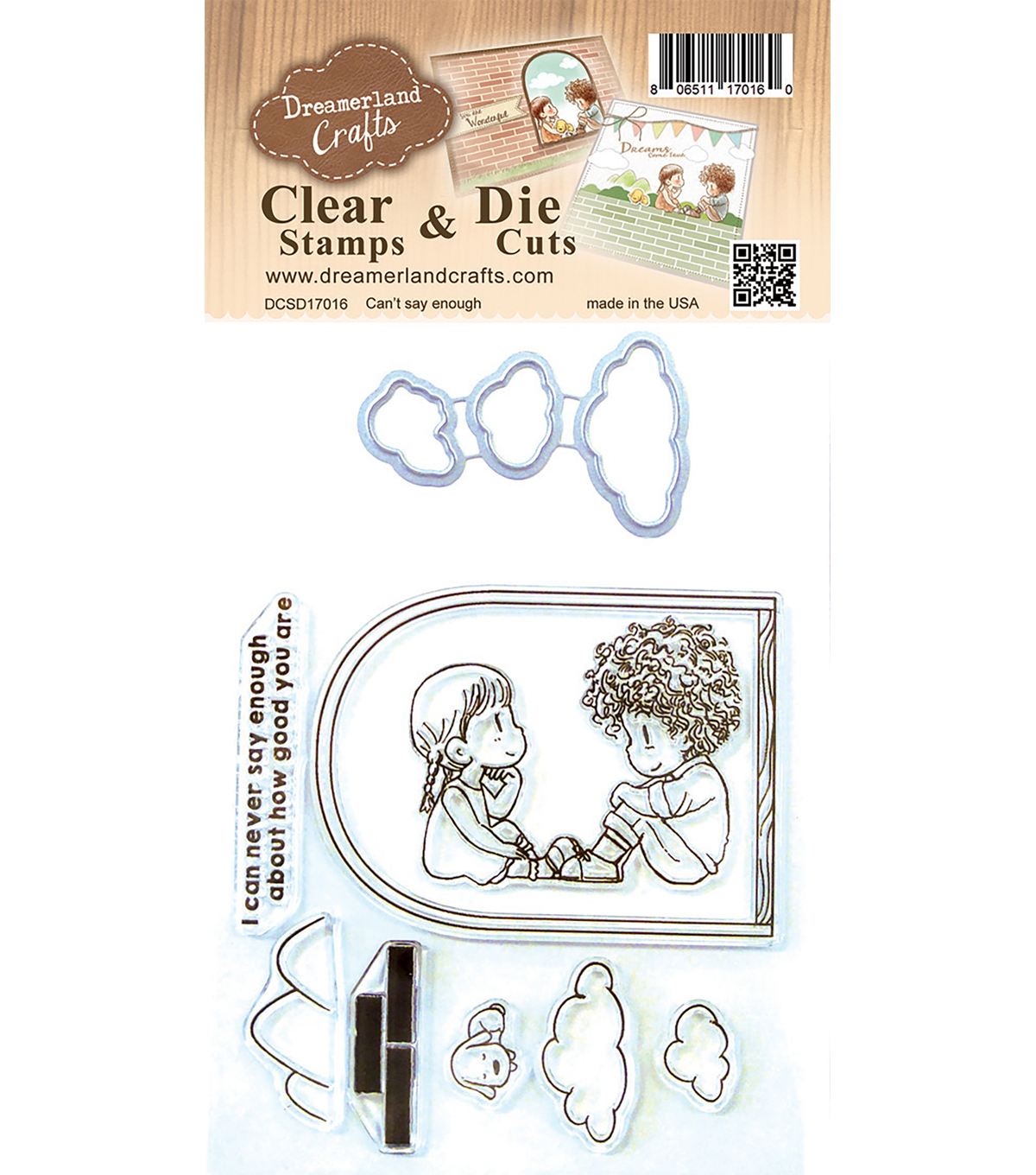 Dreamerland Crafts Clear Stamp & Die Cut Set-Can\u0027t Say Enough