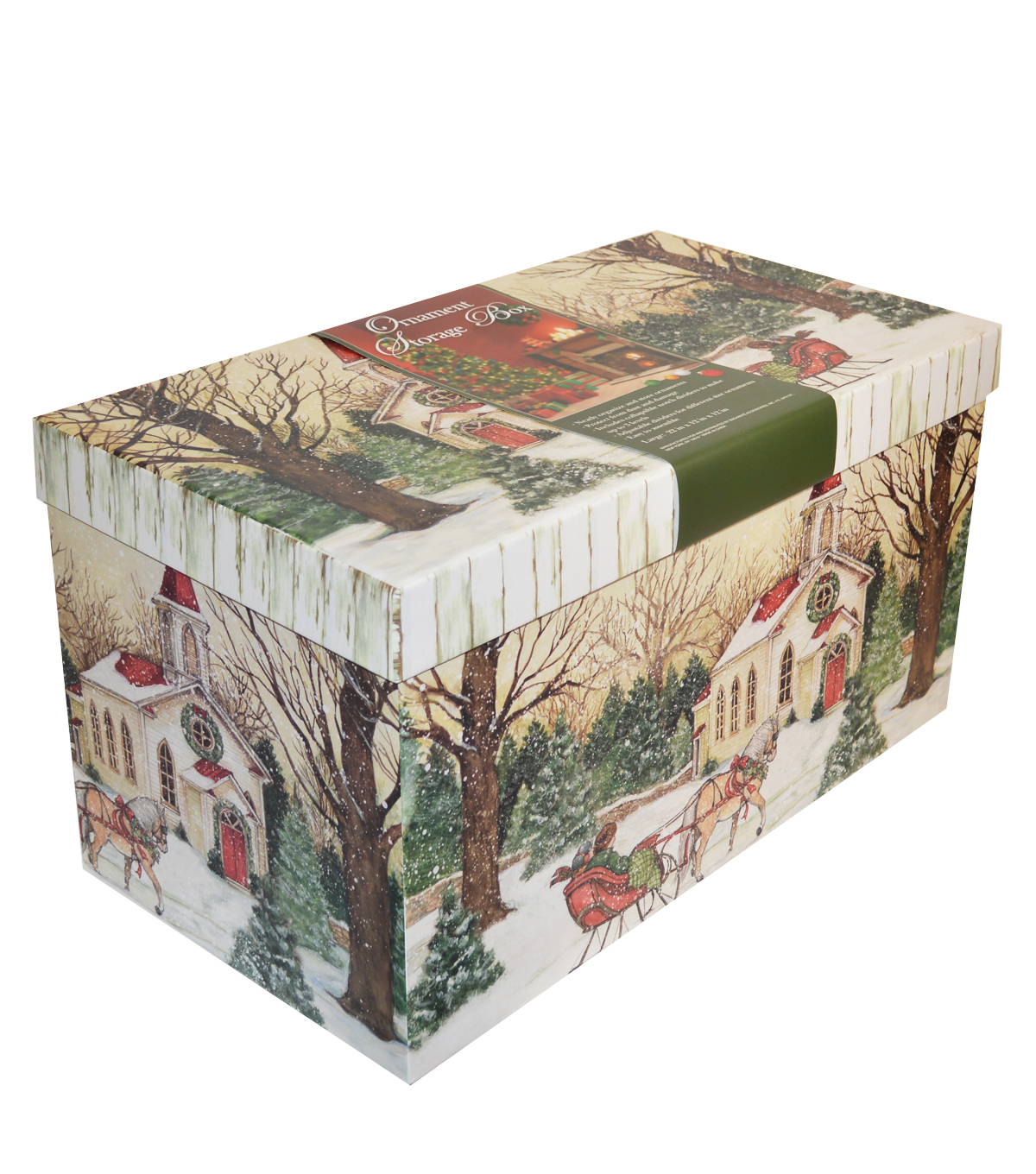 Christmas Large Ornament Storage Box-Evergreen Christmas