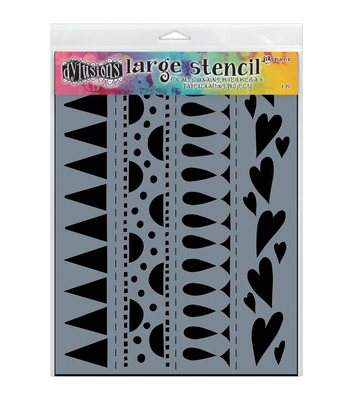 Ranger Dylusions Dyan Reaveley Large Plastic Stencil-Heart Border