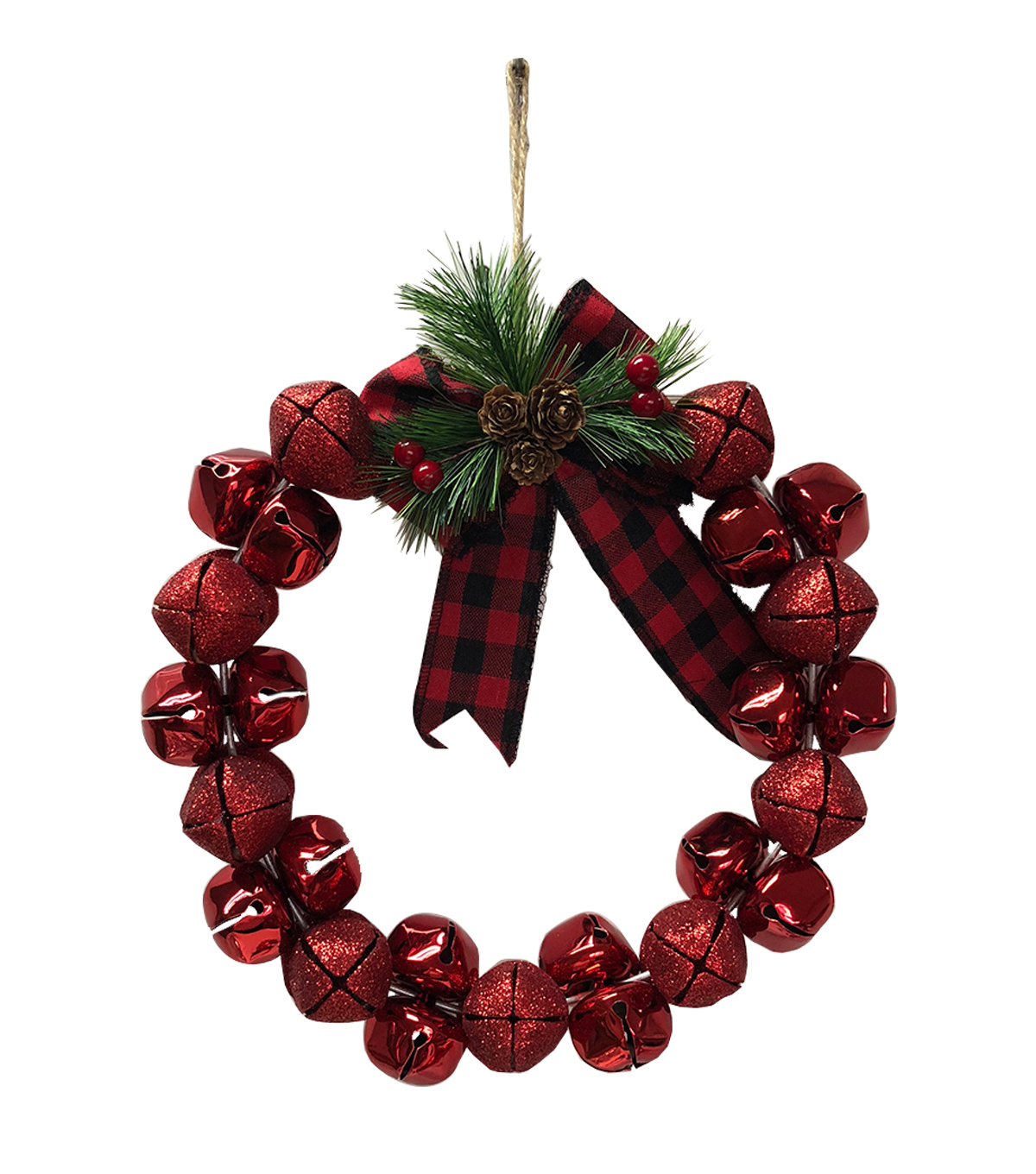 Maker\u0027s Holiday Christmas 11\u0027\u0027x13.75\u0027\u0027 Jingle Bells Wreath-Red