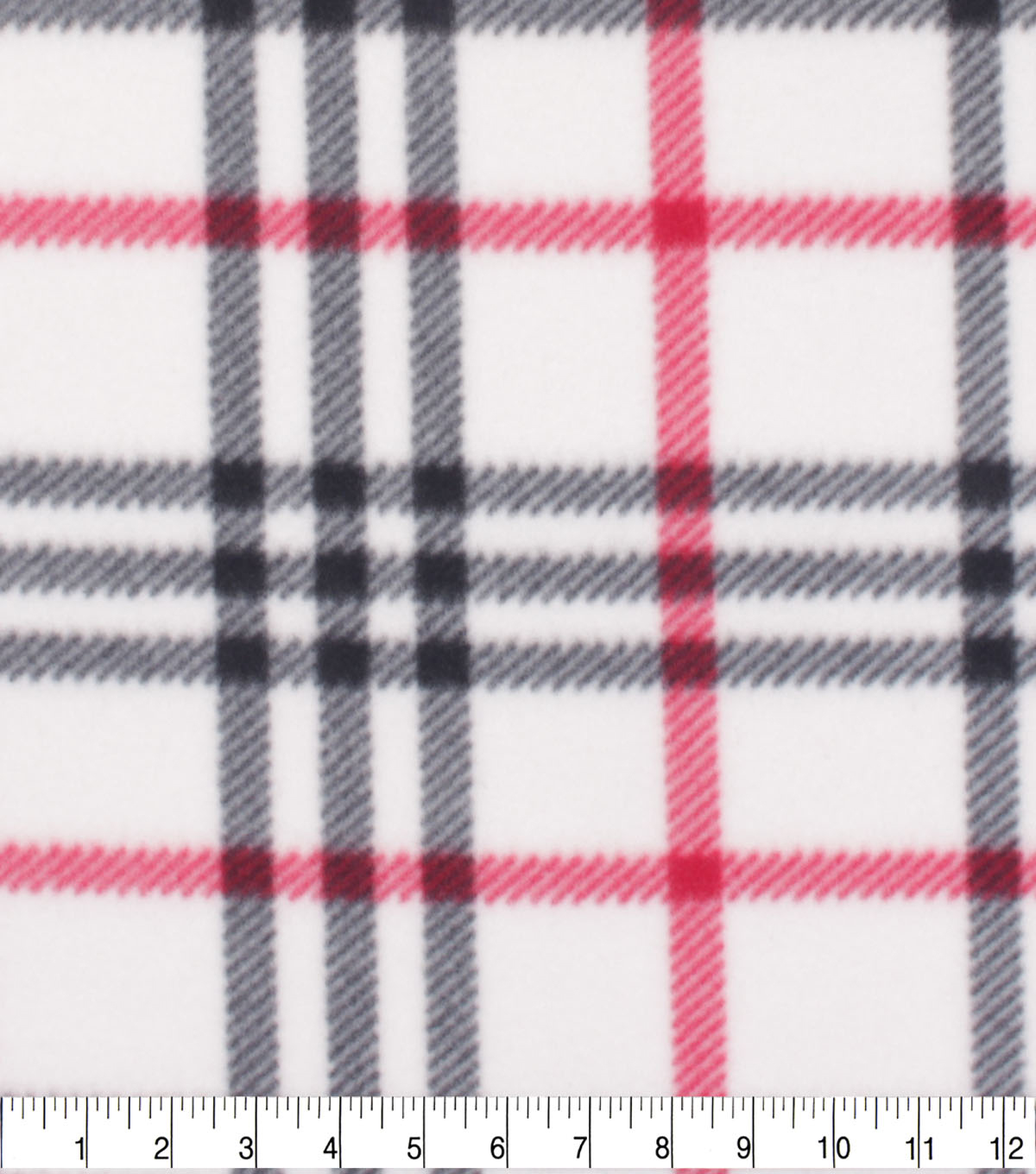 Blizzard Fleece Fabric-White Trad Plaid