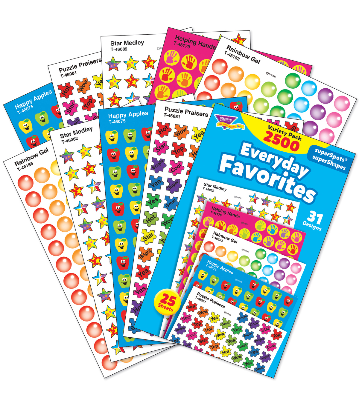 Everyday Favorites Stickers Variety Pack 2500 Per Pack, 3 Packs