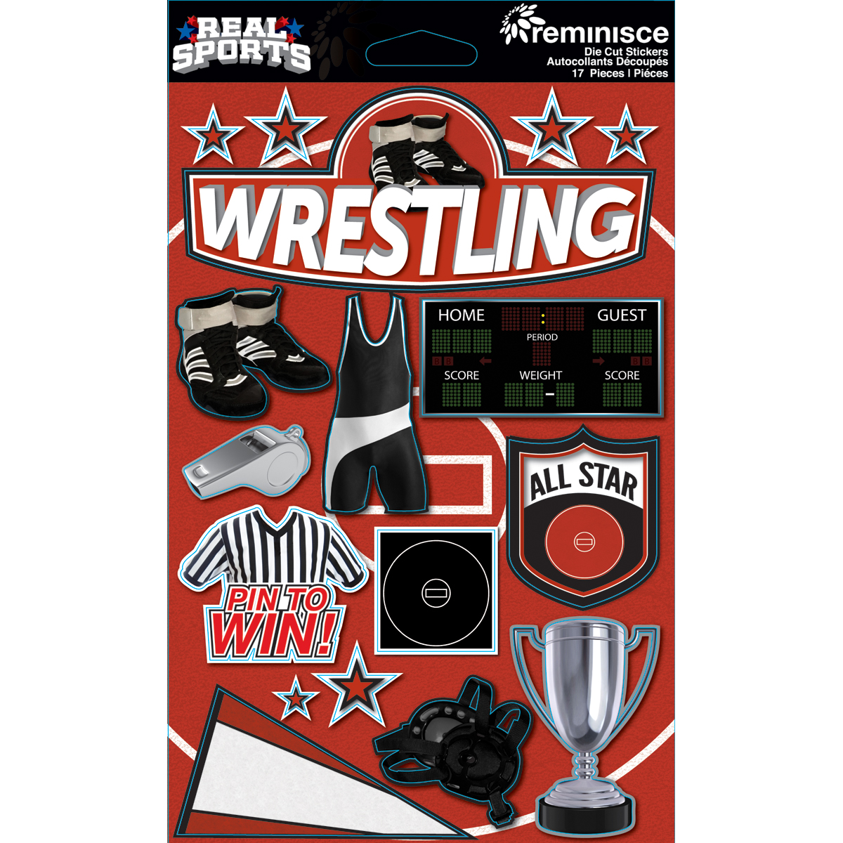 Reminisce Real Sports Dimensional Stickers Wrestling
