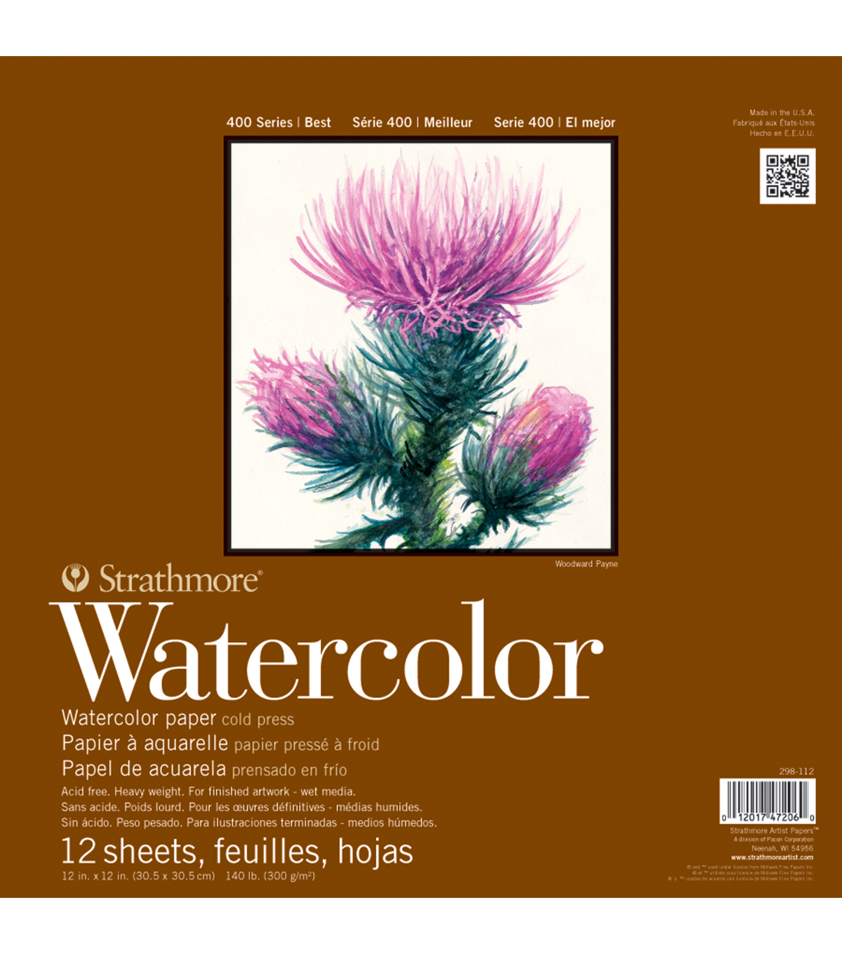 Strathmore Watercolor Paper Pad 5.5\u0022X8.5\u0022-140lb Cold Press 12 Sheets