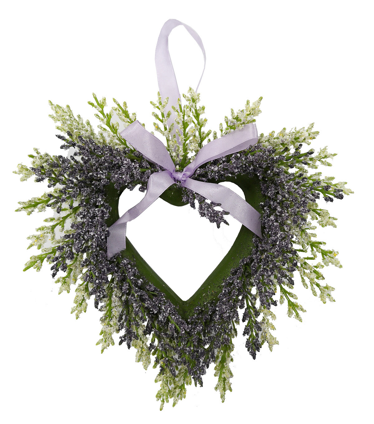 Fresh Picked Spring Farmhouse Lavender Mini Heart Wreath-Purple