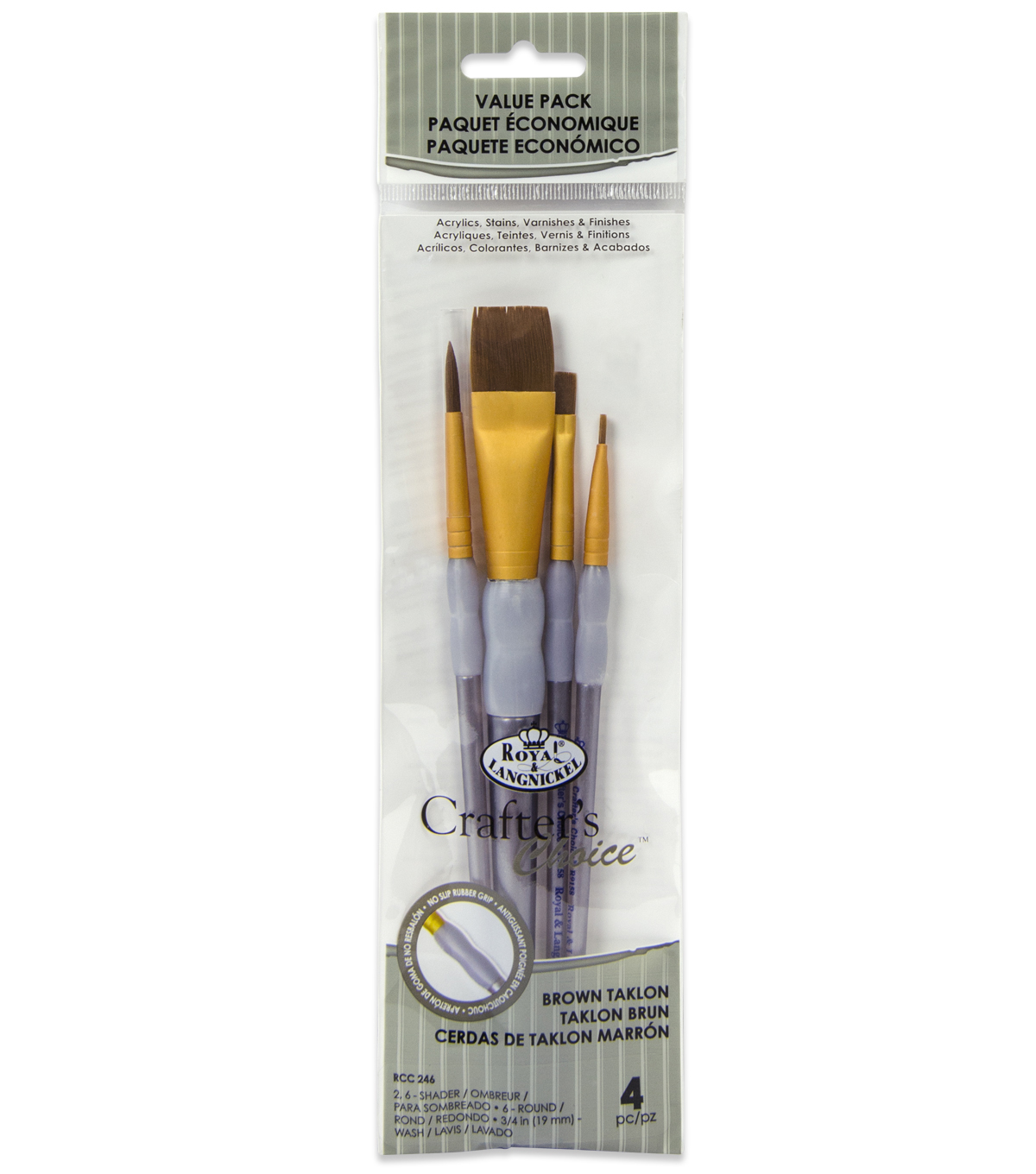 Royal & Langnickel Variety Brush Set 4pk-Brown Taklon
