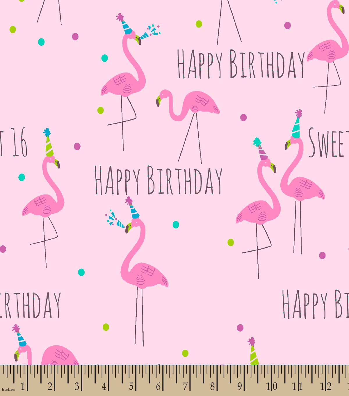Sweet 16 Pink Flamingo Print Fabric
