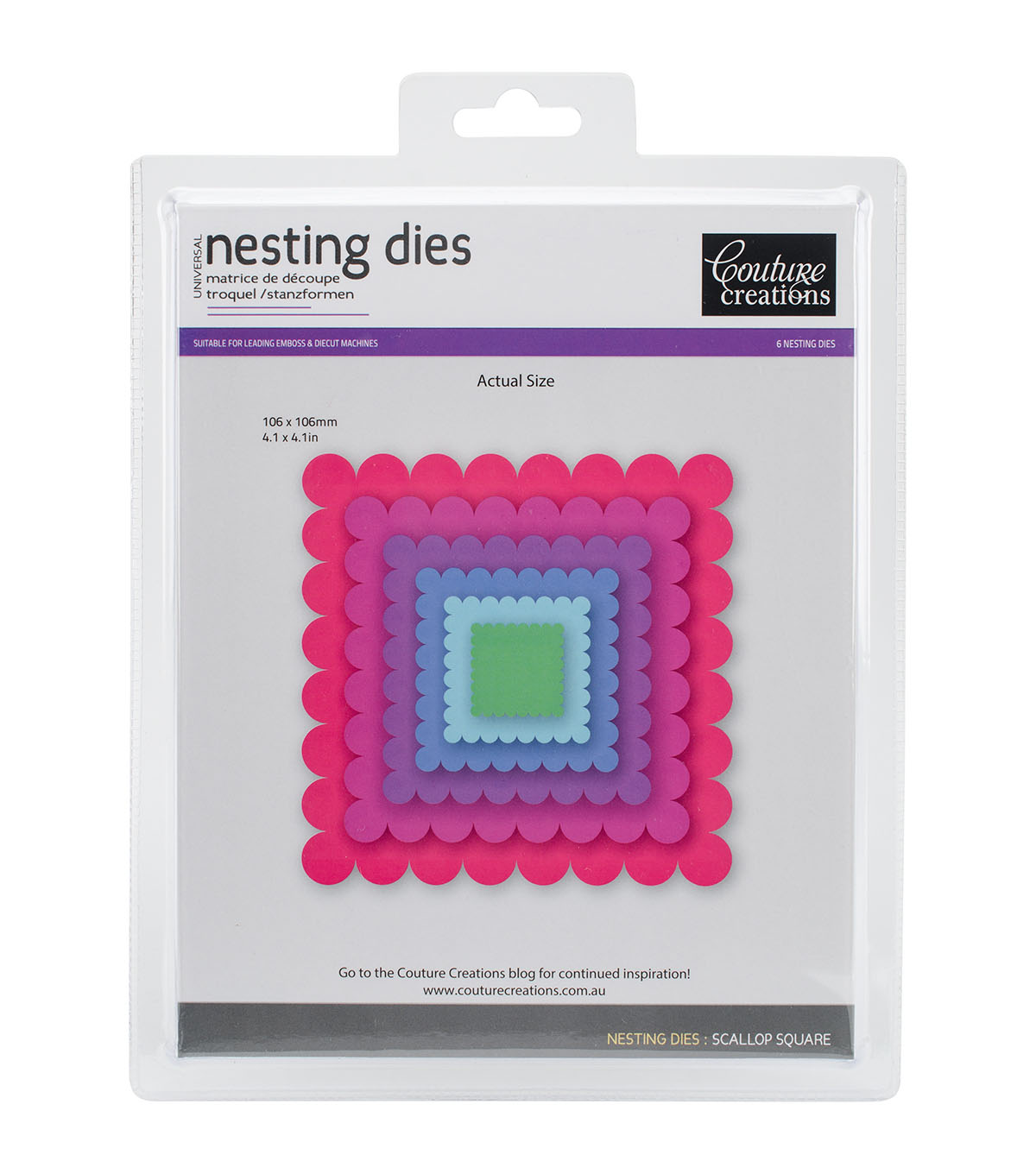 Couture Creations 6 pk Nesting Dies-Scallop Square