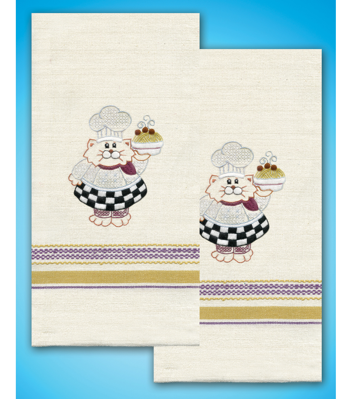 Stamped Kitchen Towels For Embroidery 20\u0022X28\u0022 2/Pkg- Cat Chef