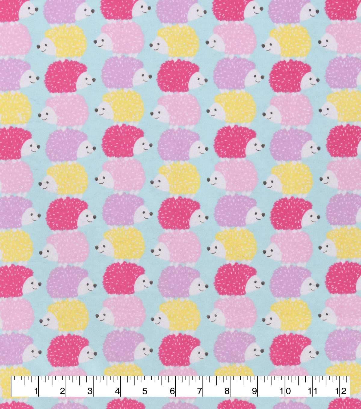 Snuggle Flannel Fabric-Pastel Stacked Hedgehogs