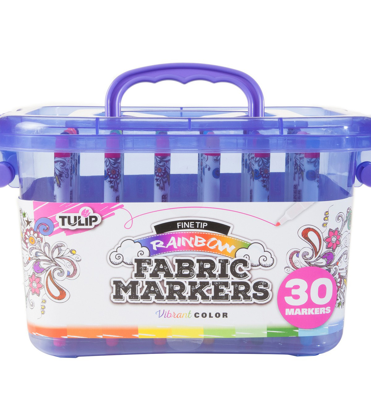 Tulip 30 pk Fine Tip Markers with Storage Tub-Rainbow