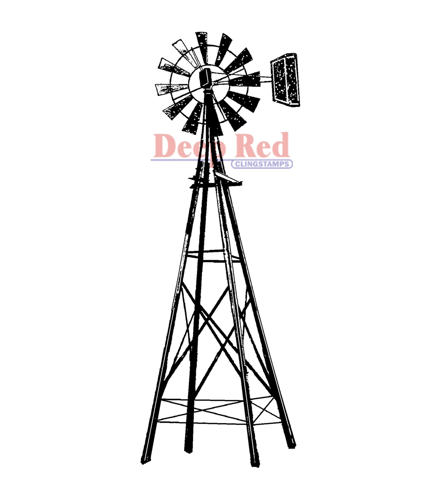 Deep Red Cling Stamp Windmill