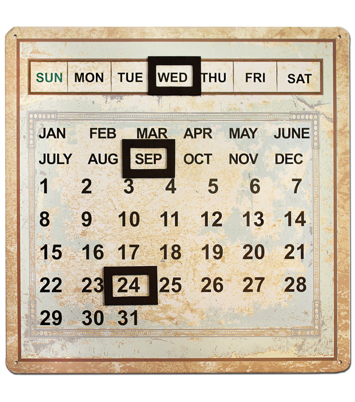 Salvaged Metal Calendar