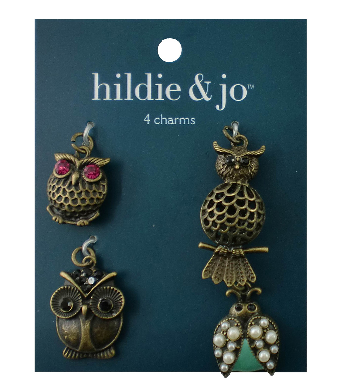 hildie & jo 4 Pack Owl & Bug Antique Gold Charms-Pearls, Crystals