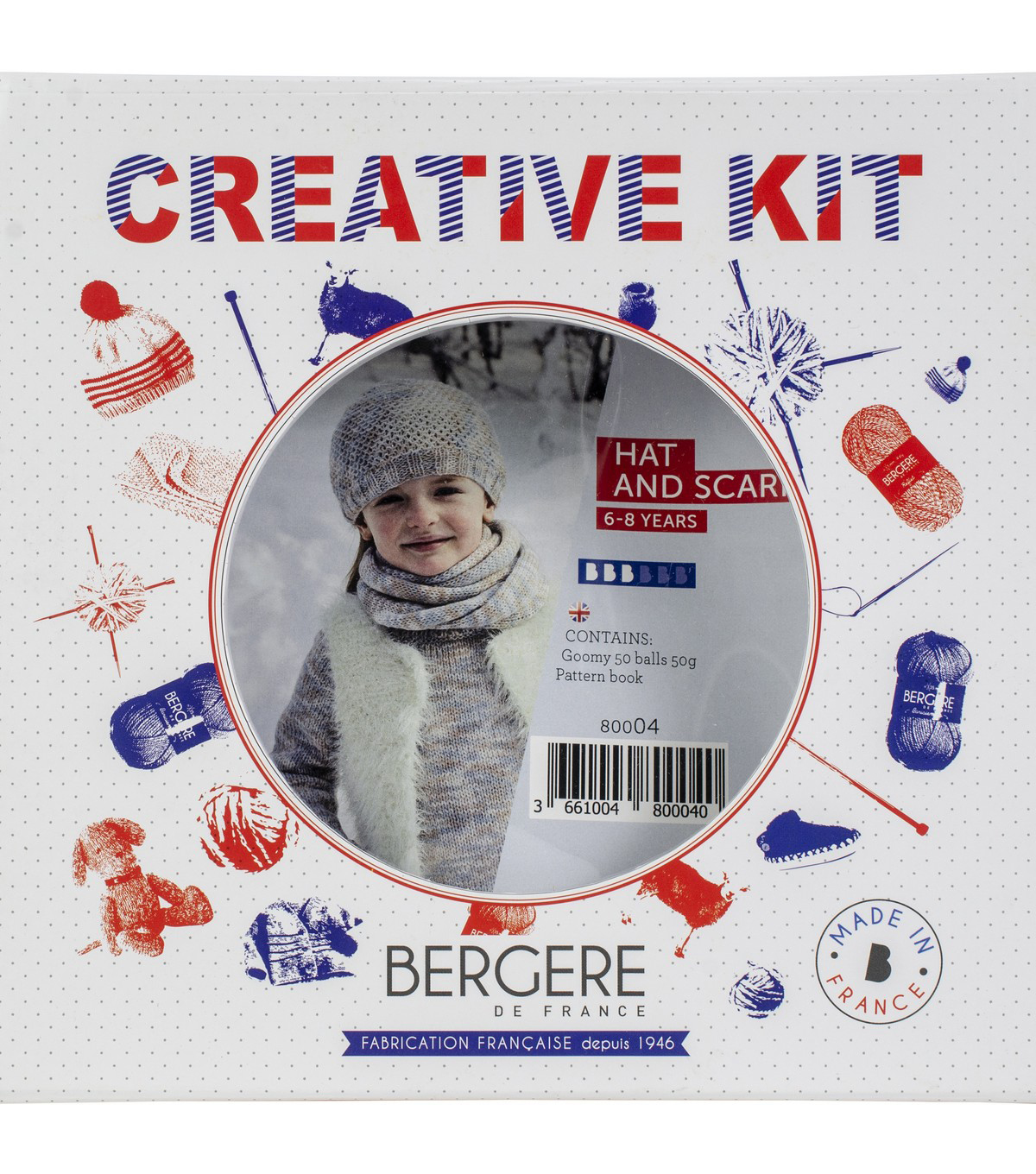 Bergere Dr France Hat & Scarf Kit-Azur