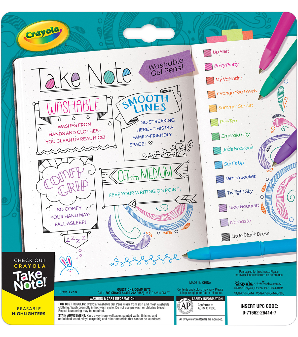 Crayola Take Note! Washable Gel Pens 14/Pkg
