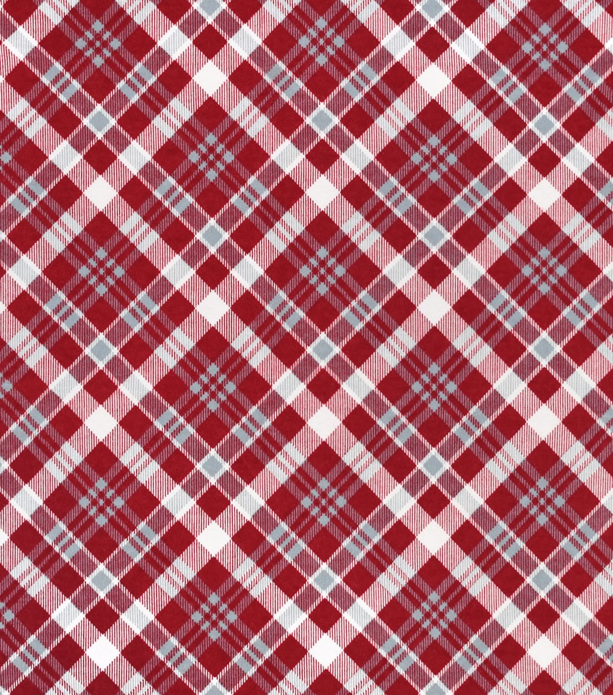 Snuggle Flannel Fabric-Red & Gray Bias Plaid