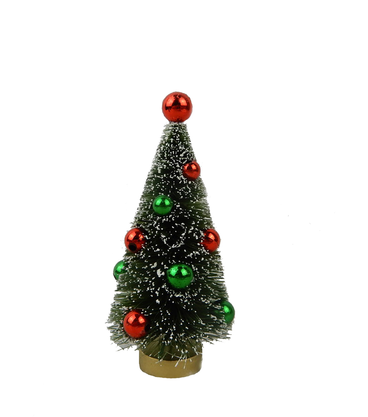 Handmade Holiday Christmas 4\u0027\u0027 Mini Tree with Red & Green Ornaments