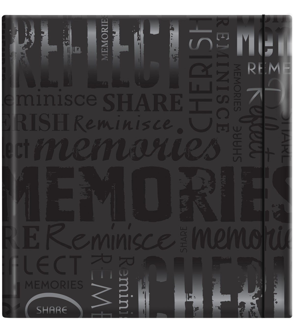 Embossed Gloss Expressions Photo Album 8.75\u0022X9.5\u0022-Memories-Black