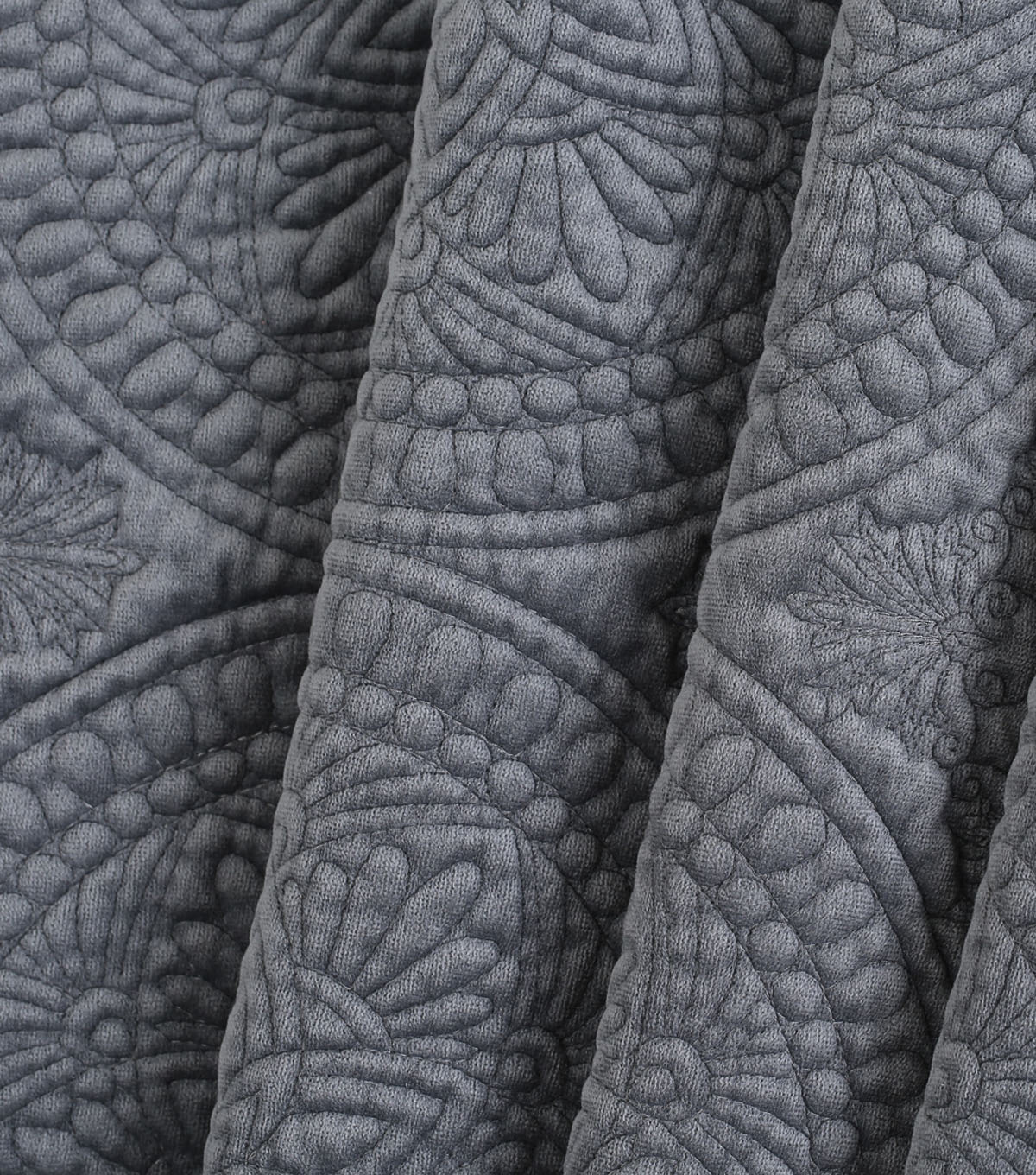 Lightweight Décor Fabric-Dark Gray Velvet Medallion
