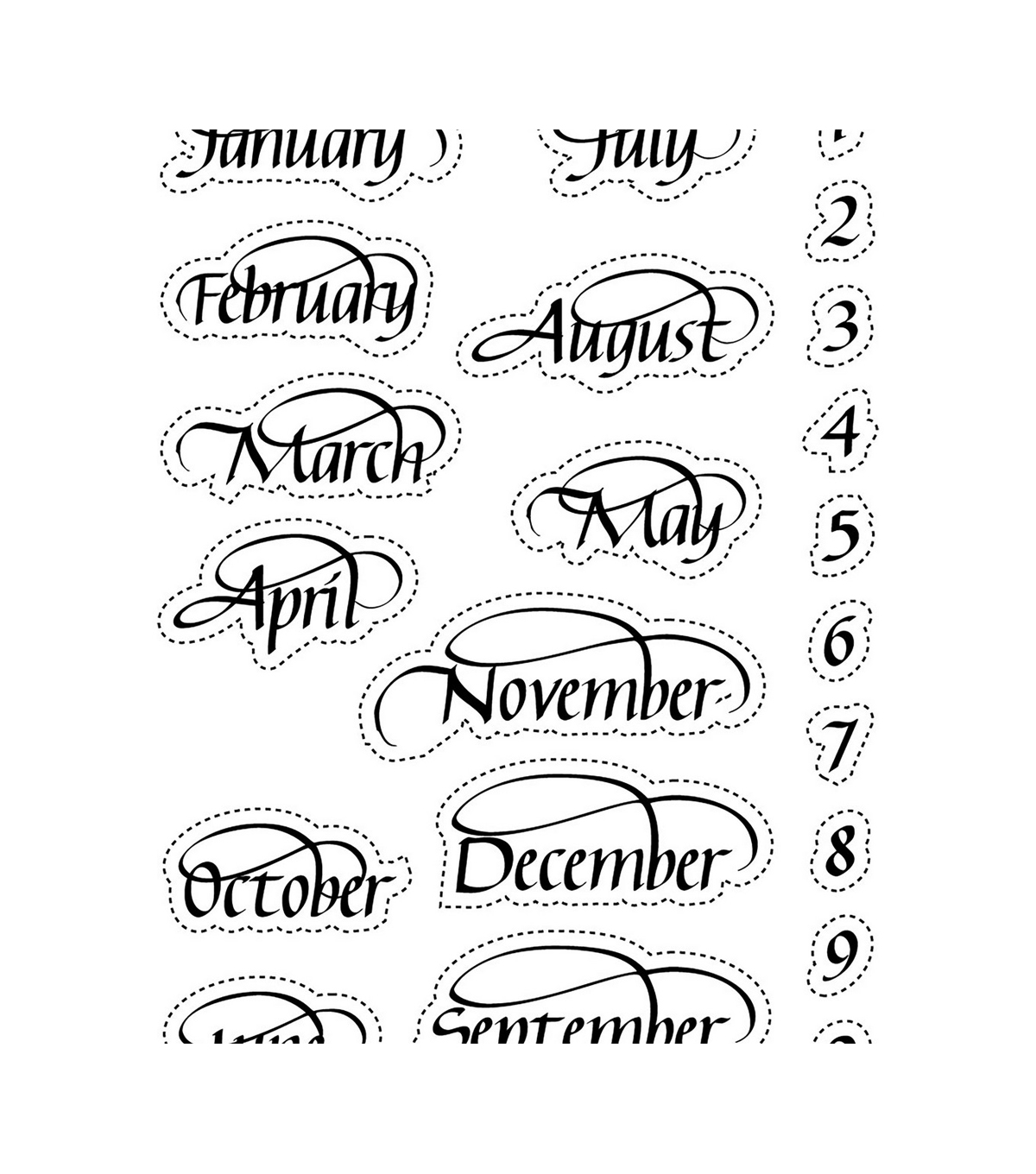 Elizabeth Craft Designs Months & Numbers Clear Stamps-A Way with Words