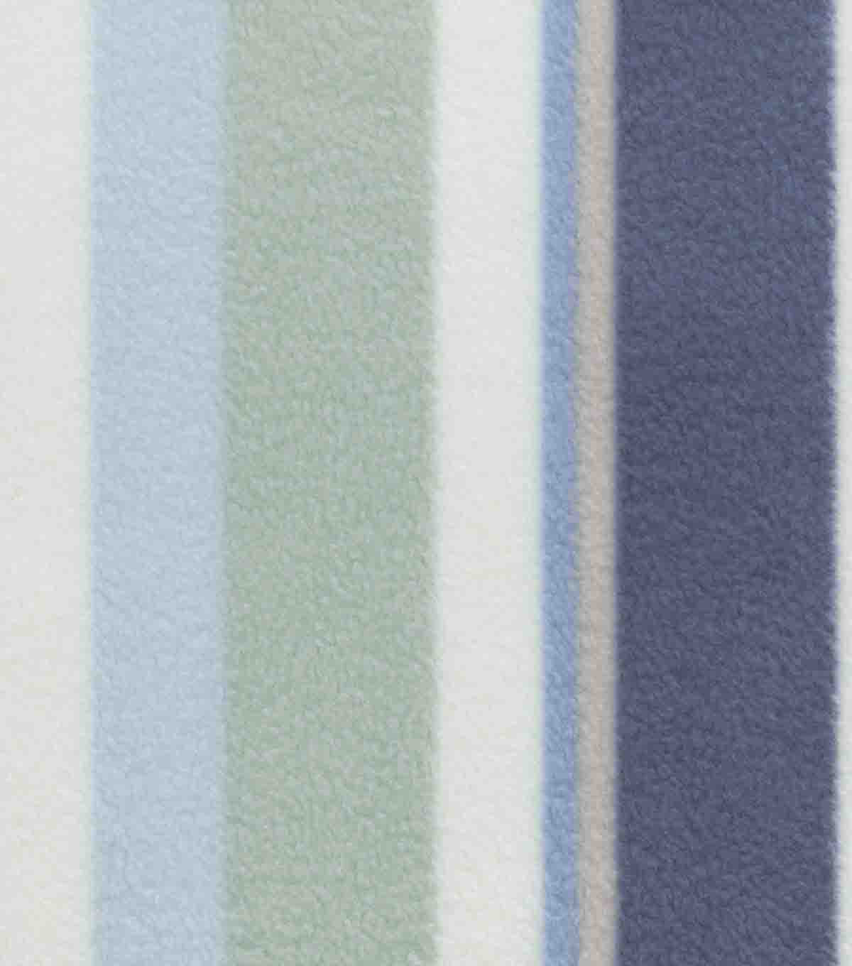Anti-Pill Fleece Fabric -Blue & Green Stripes