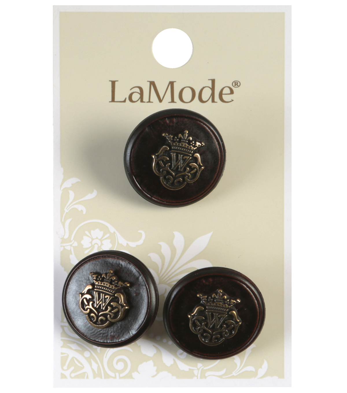 LaMode Brown Shank Button With Antique Gold Crest 20mm
