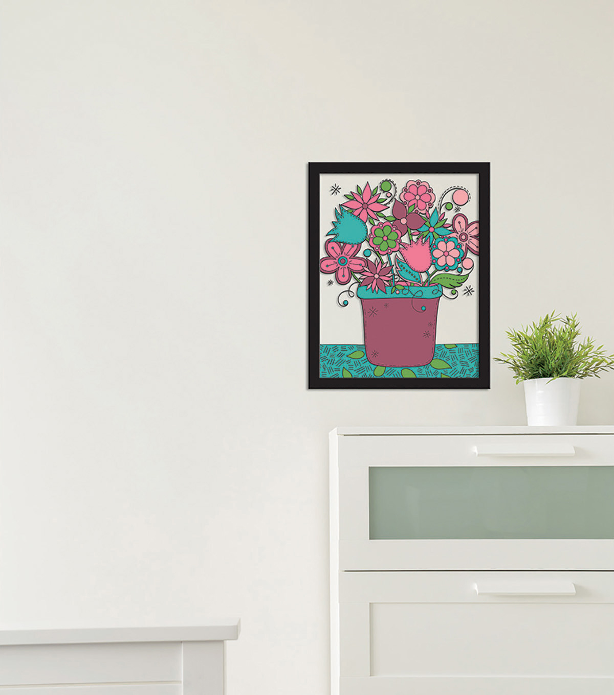 11x14 Color In Flower Pot Float Frame-Black