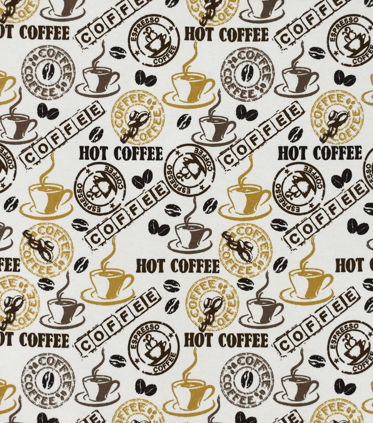 Snuggle Flannel Fabric-Hot Coffee and Beans