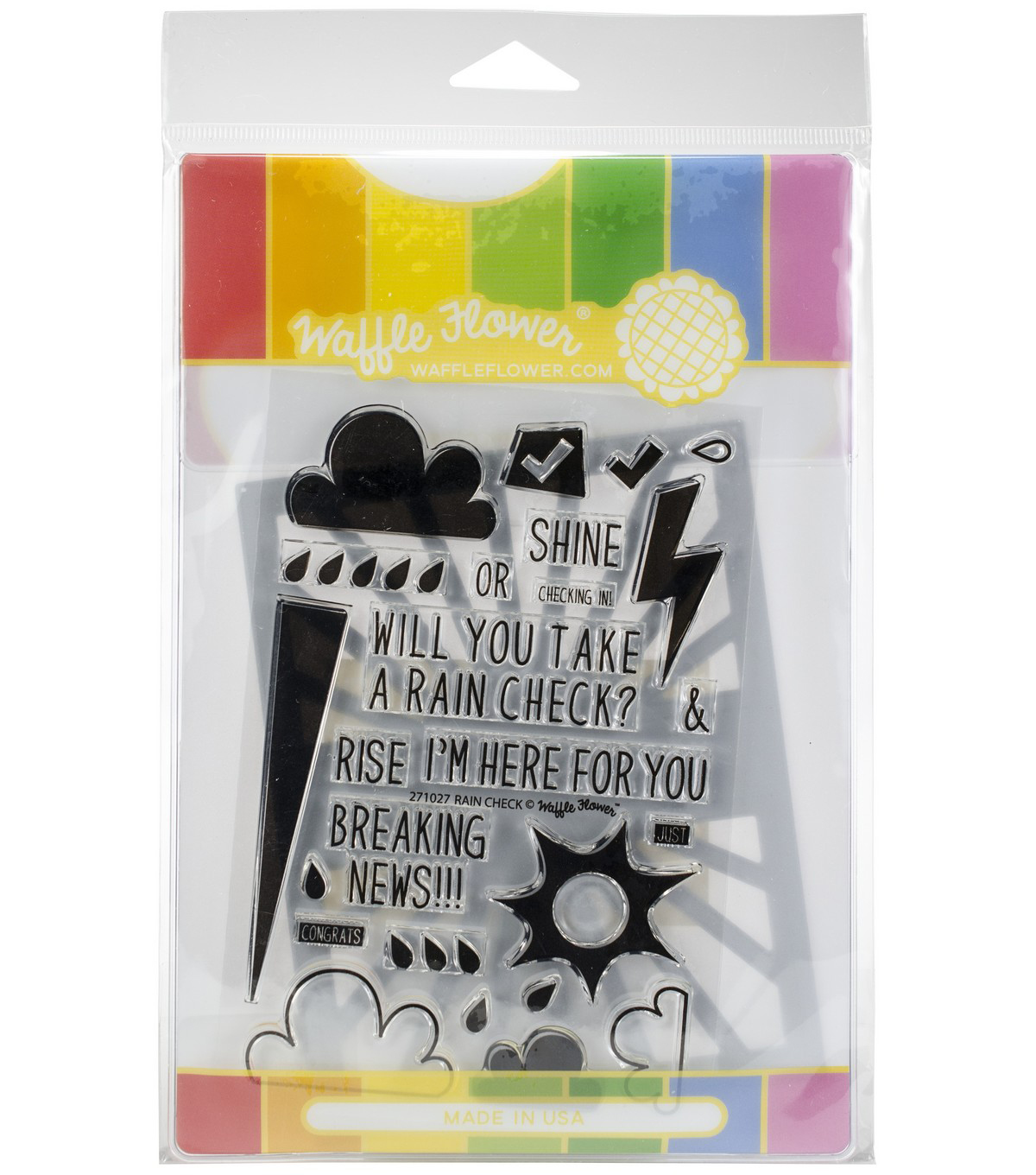 Waffle Flower Stamp & Die Set-Rain Or Shine